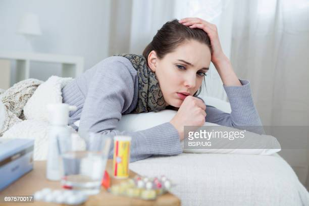 sick woman - coughing stock photos and pictures