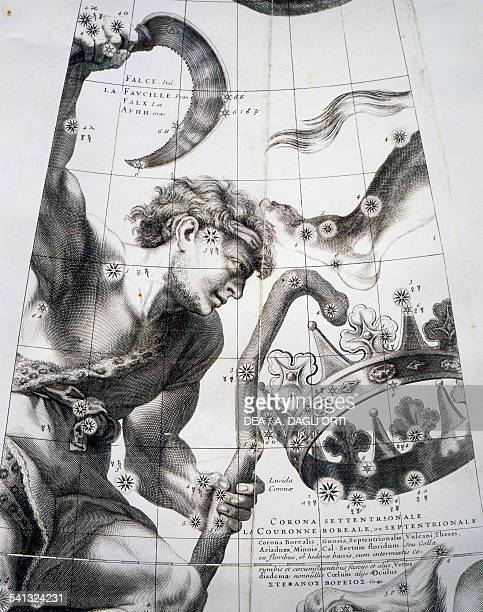 Sickle and northern crown 8 printed paper gores and 2 gores with polar ice caps by Louis Charles Desnos fused Celestial globe by Vincenzo Coronelli...
