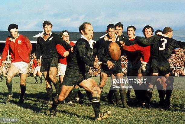 Sid Going of New Zealand clears the ball upfield during a test match on the British Lions Tour to New Zealand in 1971