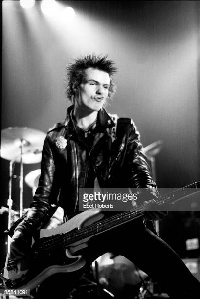 Sid Vicious of the Sex Pistols performing live on stage at the Taleisyn Ballroom Memphis Tennessee on the band's final tour 6th January 1978