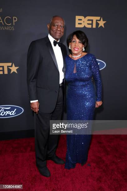 Sid Williams and Maxine Waters attend the 51st NAACP Image Awards Presented by BET at Pasadena Civic Auditorium on February 22 2020 in Pasadena...