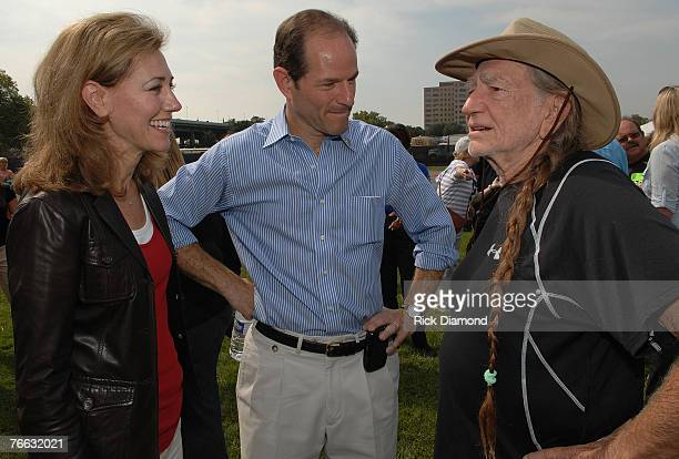 NEW YORK SEPTEMBER 09 Sida Spitzer wife of Governor New York Governor Eliot Spitzer and Artist Willie Nelson Backstage at Farm Aid 2007 at ICAHN...