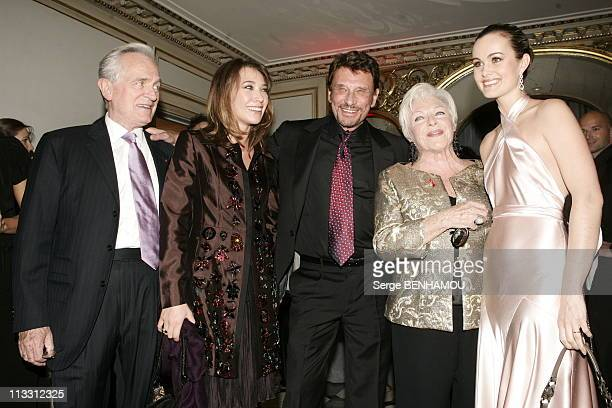 Sidaction Party On February 2Nd 2005 In Paris France Philippe Labro Laura Smet Johnny Hallyday Line Renaud Laeticia Hallyday