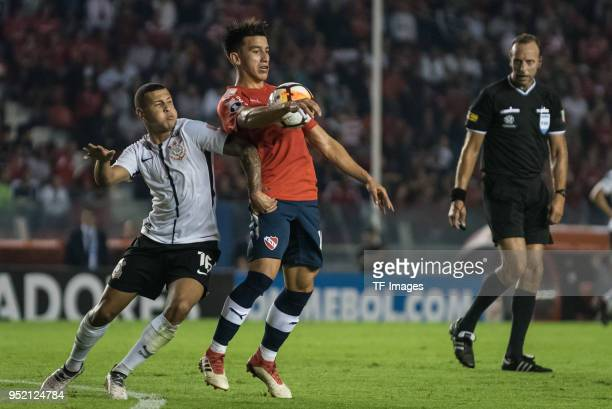 Sidcley Ferreira Pereida of Corinthians and Fernando Gaibor of Independiente battle for the ball during a Group 7 match between Independiente and...