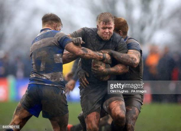 Siddal's Iain Davies tackles Toronto Wolfpack's Jack Bussey during the Ladbrokes Challenge Cup match at Siddal ARLFC Halifax