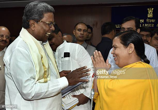 Siddaramaiah Chief Minister of Karnataka with Union Minister for Water Resources Uma Bharti during a meeting on the issue of Cauvery at Sharam Shakti...