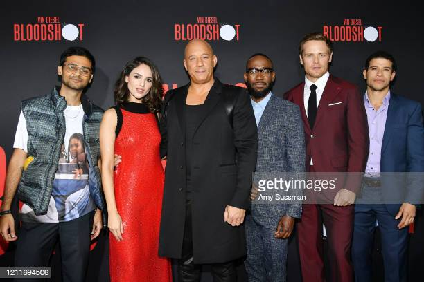 Siddharth Dhananjay Eiza Gonzalez Vin Diesel Lamorne Morris Sam Heughan and Alex Hernandez attend the premiere of Sony Pictures' Bloodshot on March...