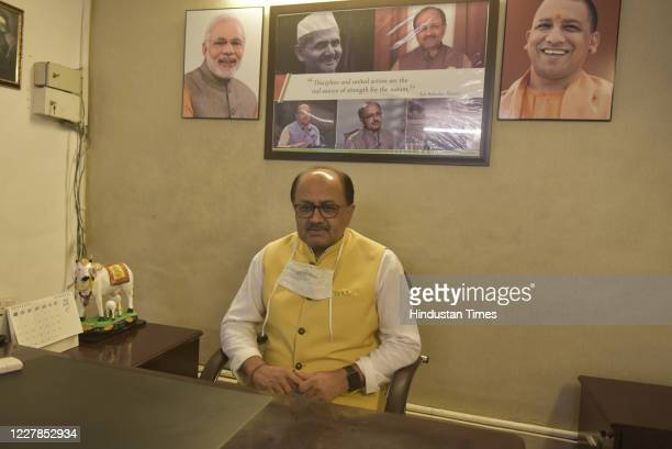Siddharth Nath Singh Cabinet Minister in the Uttar Pradesh government with charge of MSME Investment Export Textile Khadi Gram Udyog during an...