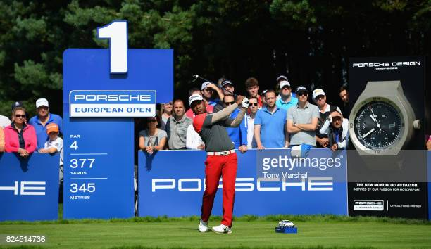 Siddikur Rahman of Bangladesh plays his first shot on the 1st tee during the Porsche European Open Day Four at Green Eagle Golf Course on July 30...