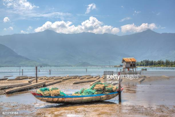Side boats moored on a vietnam beach