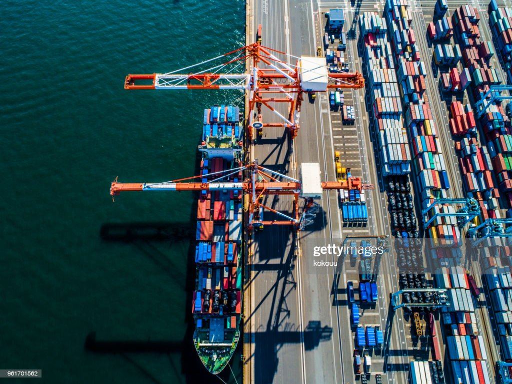 A side by side trade container. : Stock Photo