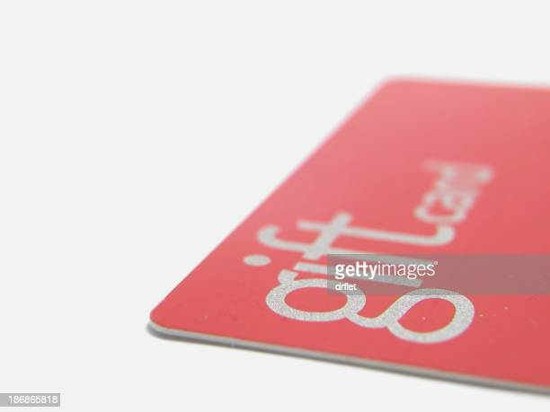 Side close-up view of a red gift card