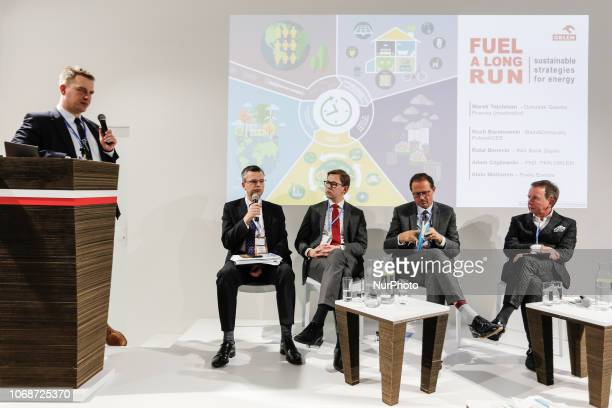 Side event discussion panel in Polish Pavilion during the UN climate conference COP24 in Katowice Poland on the 4th of December 2018 COP24 gathers...