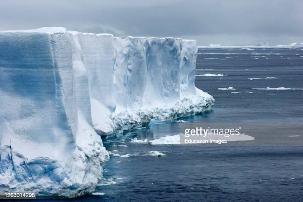 Side of huge tabular iceberg Weddell Sea near Snow Hill Island, Antarctica.