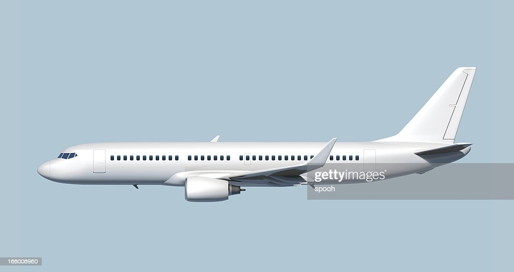 Side of passenger jet airplane - easy to cut out. : Stock Photo