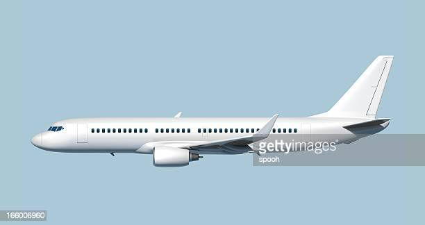 side of passenger jet airplane - easy to cut out. - van de zijkant stockfoto's en -beelden
