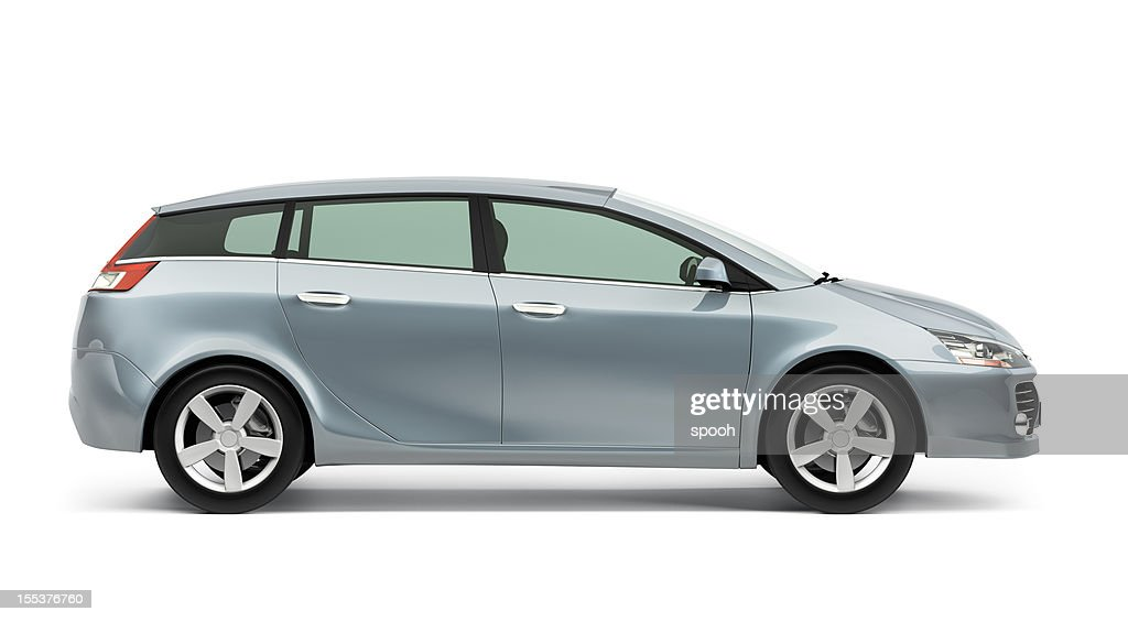 Side of silver modern compact car on a white background : Stockfoto