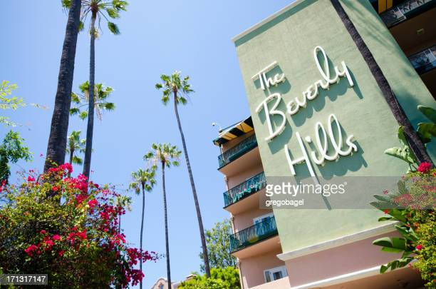 side of the beverly hills hotel - beverly hills california stock pictures, royalty-free photos & images