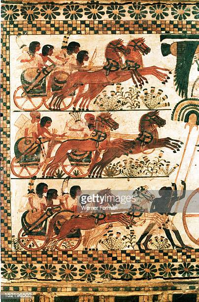 Side of the painted casket from the tomb of Tutankhamun It depicts the king in battle against the Syrians Chariots ready for battle Egypt Ancient...