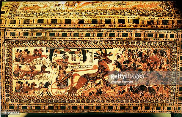 Side of the painted casket from the tomb of Tutankhamun It depicts the king in battle against the Syrians Egypt Ancient Egyptian 18th dynasty Thebes...