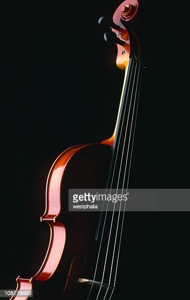 side of violin with the rest in black shadows - violin family stock photos and pictures