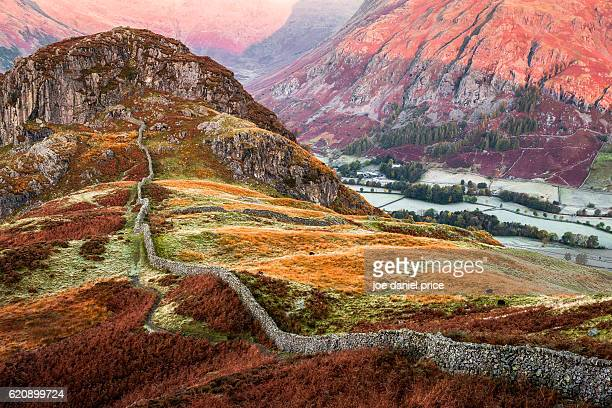 side pike, sunrise, dungeon ghyll, great langdale, lake district, cumbria, england - ambleside stock photos and pictures