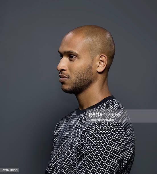 Side portrait of a dark skinned male