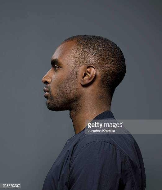 Side portrait of a dark skinned male