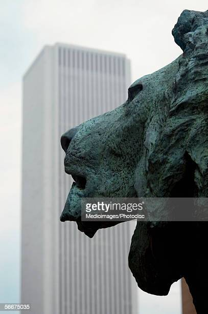 side profile of a bronze lion, art institute of chicago, chicago, illinois, usa - art institute of chicago stock pictures, royalty-free photos & images