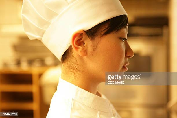 Side profile of a female chef
