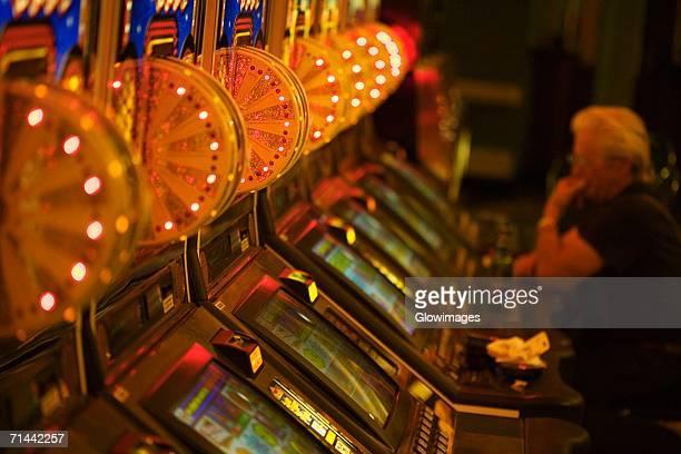 Side profile of a person sitting in a casino, Las Vegas, Nevada, USA