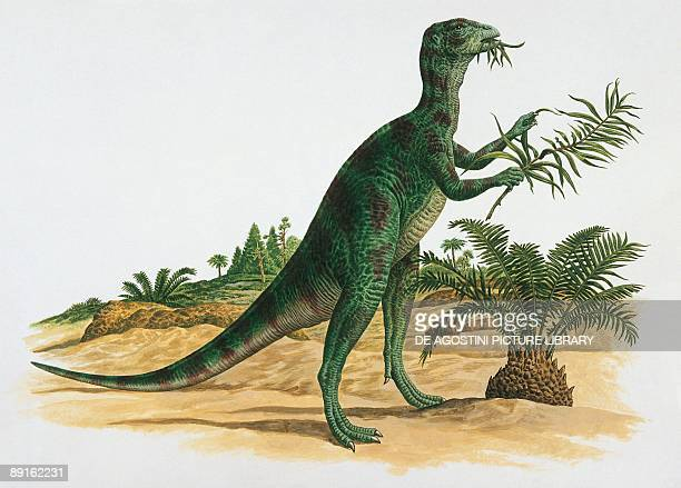 Side profile of an othnielia dinosaur eating leaves
