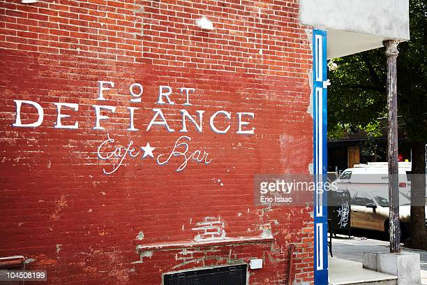 Side sign of the restaurant Fort Defiance in Red Hook, Brooklyn.
