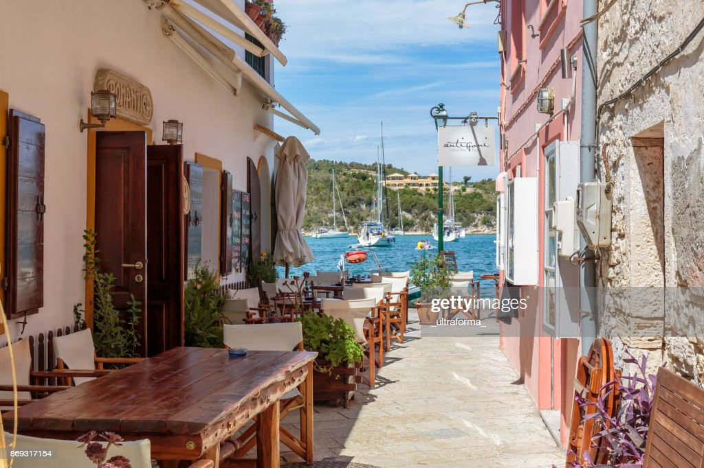 Side Street And Restaurant In Lakka On Paxos Ionians Islands ...