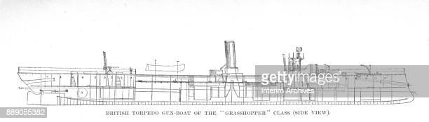 Side view illustration showing a cutaway diagram of the British Royal Navy's torpedo gunboats of the 'Grasshopper' class The illustration appeared in...