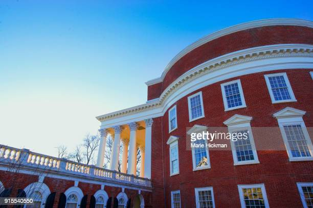 Side view, in Charlottesville Virginia, of the famous ROTUNDA, center of the University of Virginia Campus, designed by Pres. Thomas Jefferson inspired by Greek architecture.