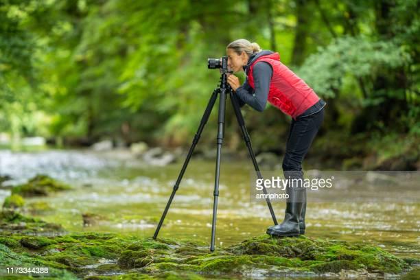川のサイドビュー成熟した女性女性屋外写真家 - 三脚 ストックフォトと画像