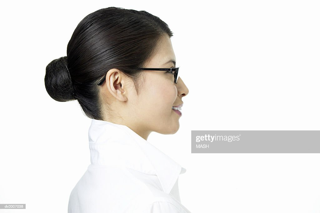Side View of a Businesswoman Wearing Spectacles : Stock Photo