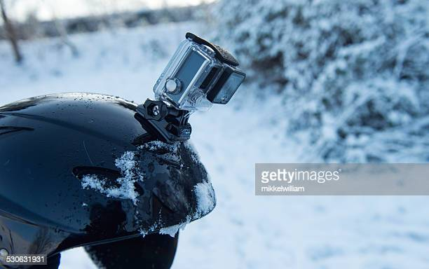 Side view of a GoPro action camera on helmet