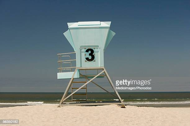 Side view of a lifeguard stand, San Diego, California, USA