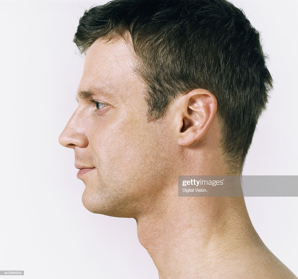 Side View of a Man's Head : Stock Photo