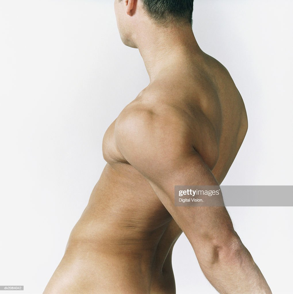 Side View of a Naked Man's Torso : Stock Photo