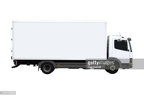 side view of a plain white truck - van de zijkant stockfoto's en -beelden