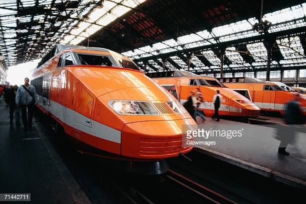 Side view of a TGV-HI speed train at the station, Paris, France