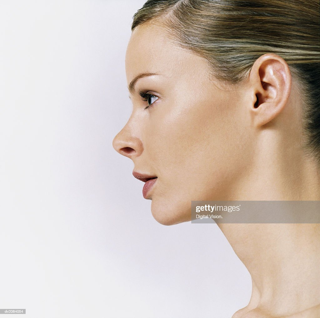Side View of a Woman's Head : Stock Photo