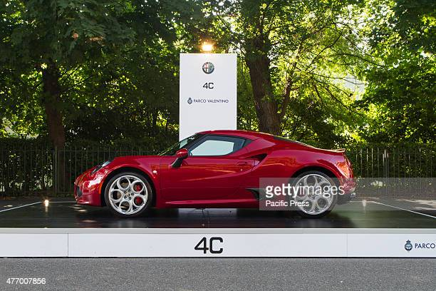 Side view of Alfa Romeo 4C Parco Valentino car show hosted 93 cars by many automobile manufacturers and car designers inside Valentino Park