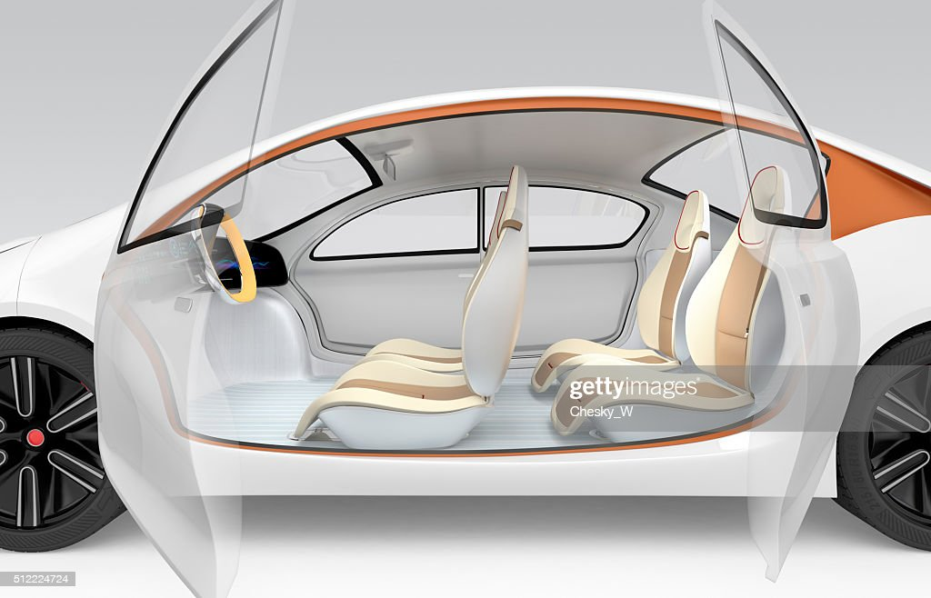 Side View Of Autonomous Electric Car Interior Stock Photo Getty Images