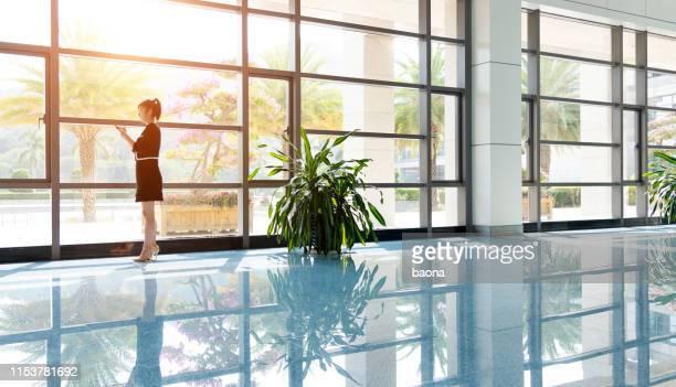 近代的なオフィスビルで電話で交渉している実業家の側面図。 - 女性管理職 ストックフォトと画像