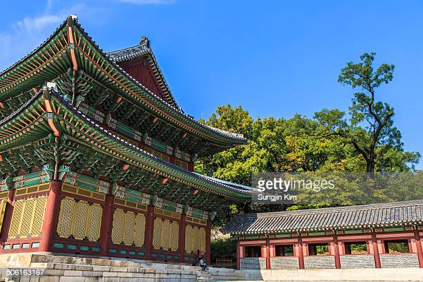 CONTENT] Side view of Changdeokgung Palace with trees and blue sky Seoul 2013