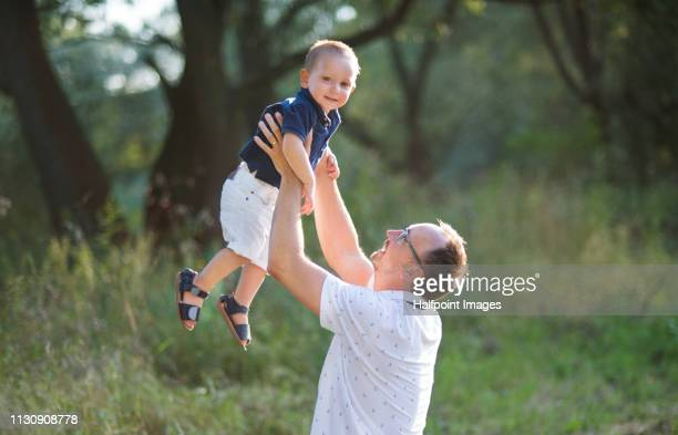 A side view of father lifting a cheerful toddler boy outdoors in nature in summer.